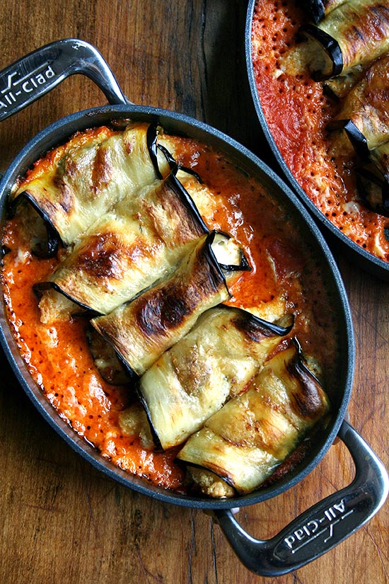 baked eggplant involtini in a pan
