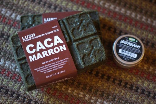 lush caca marron henna hair color