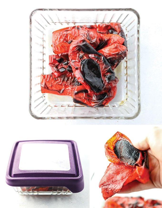 roasted red peppers in glass container