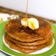 Syrup poured on almond butter pancakes