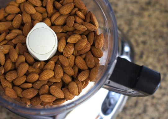 whole almonds in a food processor