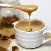 maple pecan glaze dripping off spoon