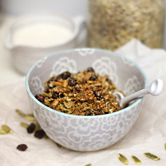 bowl of pumpkin seed granola