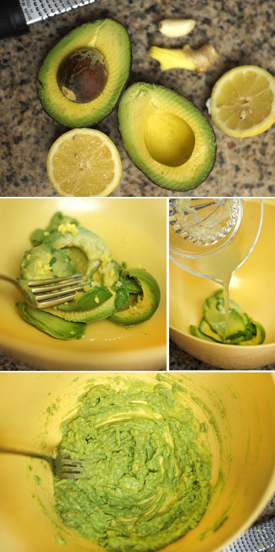 mashed avocado in a bowl with lemon juice