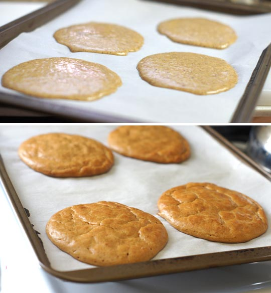 almond butter pancakes cooked on a baking sheet