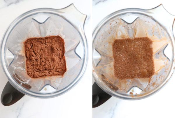 chocolate coconut milk ingredients in blender