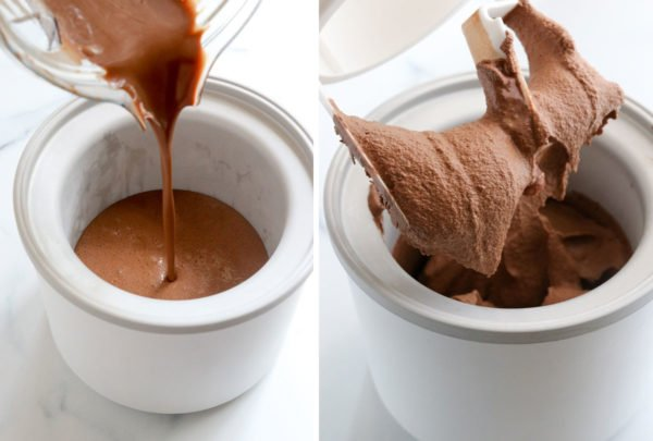 chocolate coconut milk ice cream poured into ice cream maker and frozen