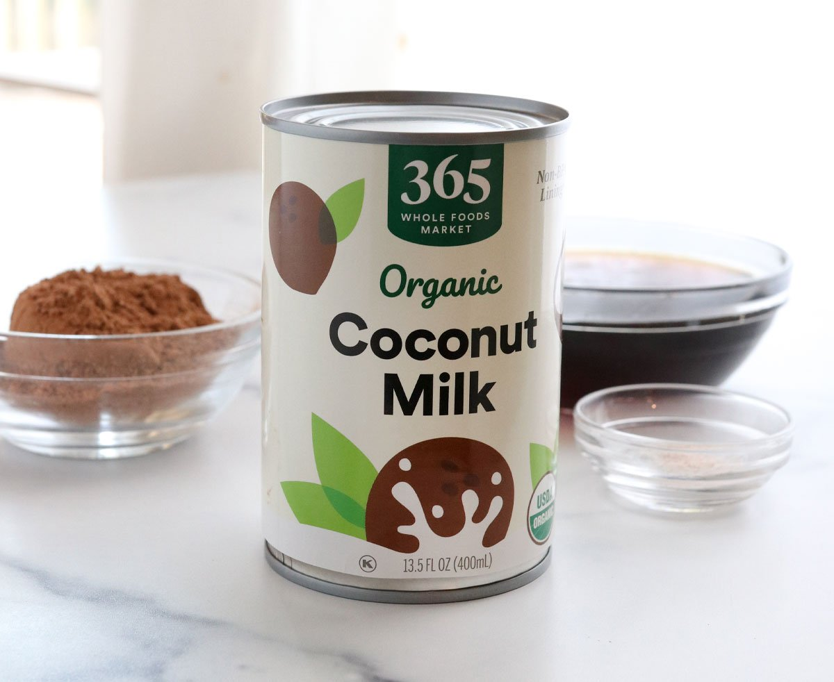 can of coconut milk next to ice cream ingredients