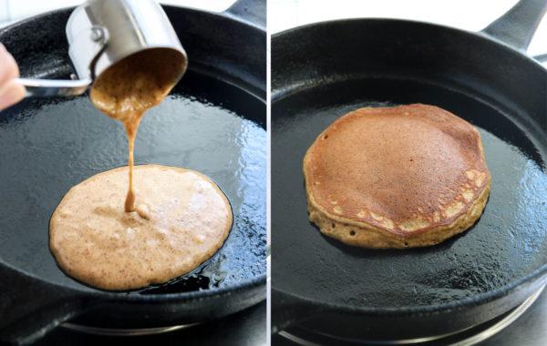 cooking paleo pancakes in skillet