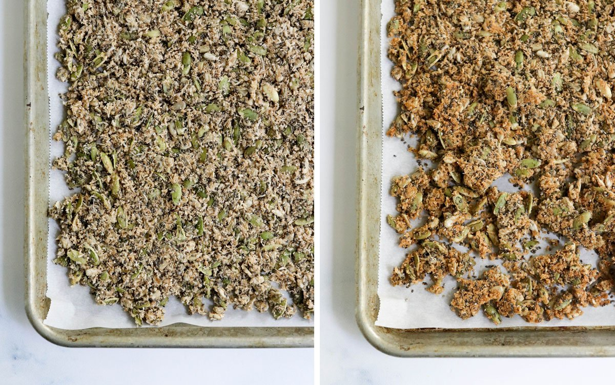 before and after baked granola on pan