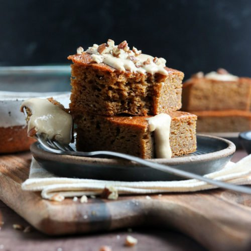 healthy pumpkin bars stacked on plate