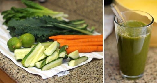 fresh veggies made into vegetable juice
