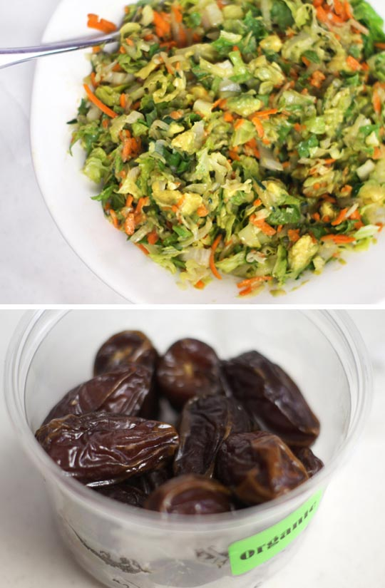 plate of salad and a container of dates