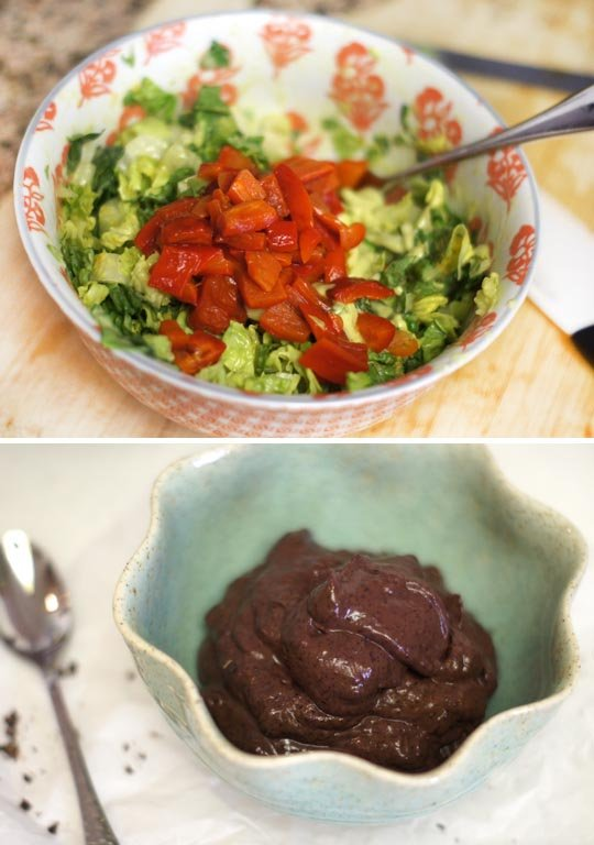 salad in a bowl and a bowl of cherry chocolate avocado pudding