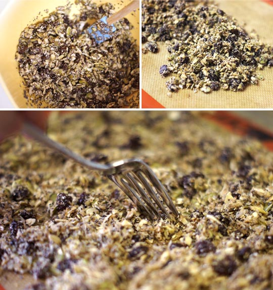 spreading pumpkin seed granola mixture onto a pan