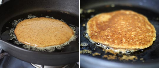 almond butter pancake cooked on a skillet