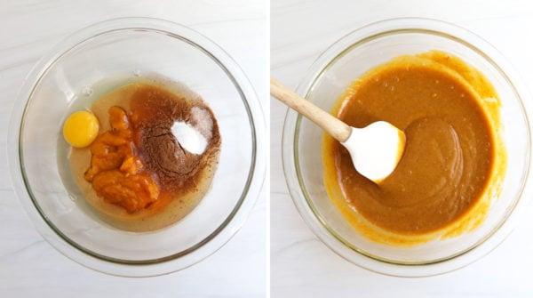 pumpkin bar ingredients mixed in glass bowl
