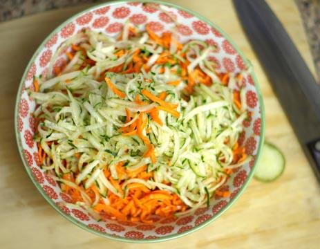 shredded vegetable salad in a bowl