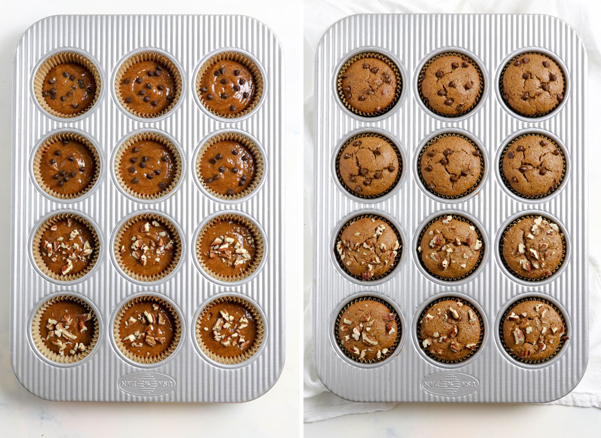 before and after of baked muffins in pan