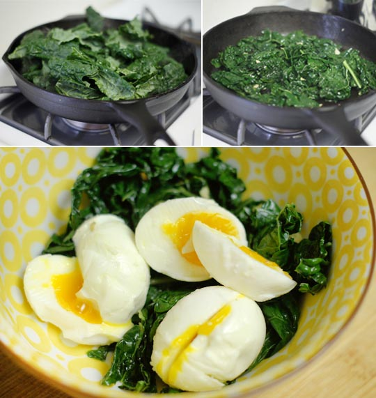 sauteed spinach and eggs in a bowl
