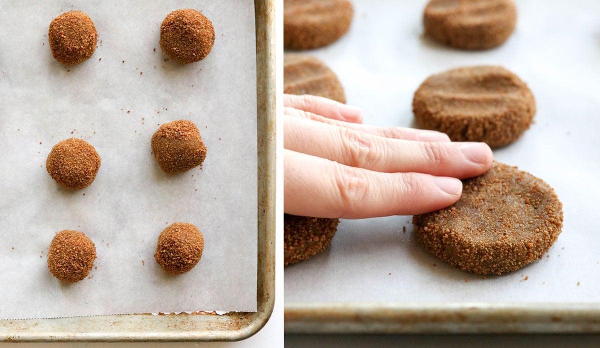 fingers flattening cookies on the pan
