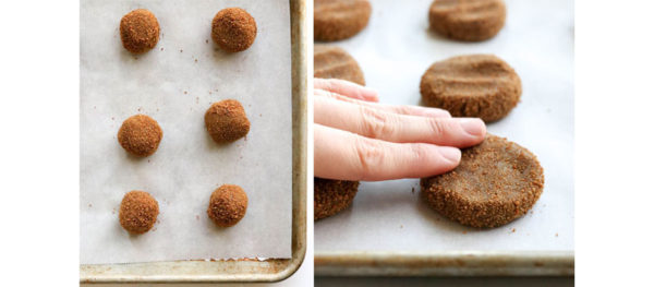 fingers flattening the ginger cookie balls