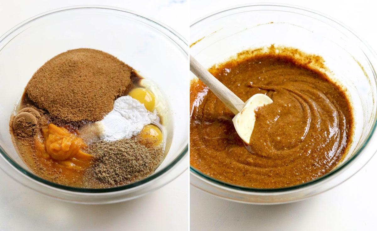 muffin batter stirred together in bowl