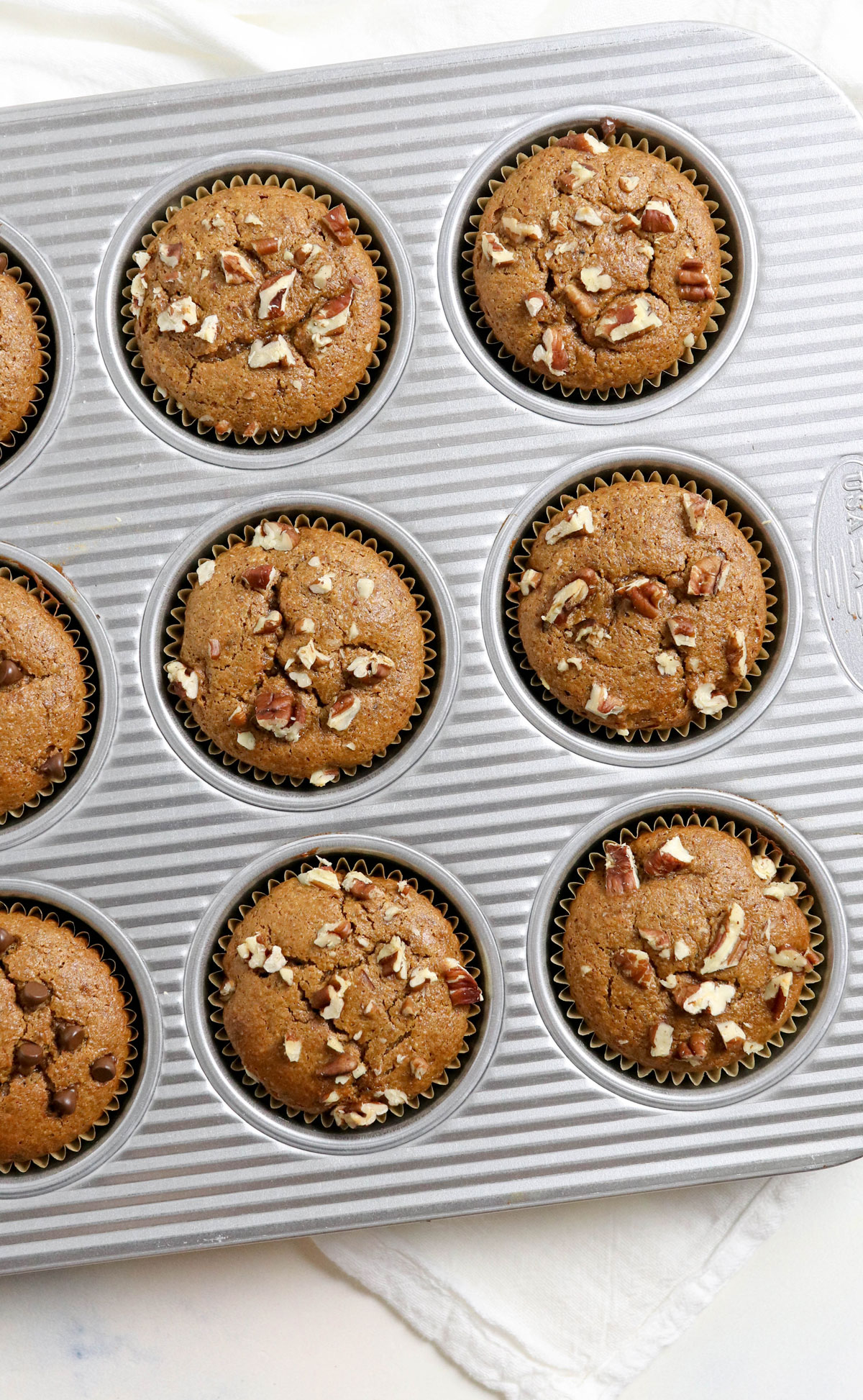 paleo pumpkin muffins in pan