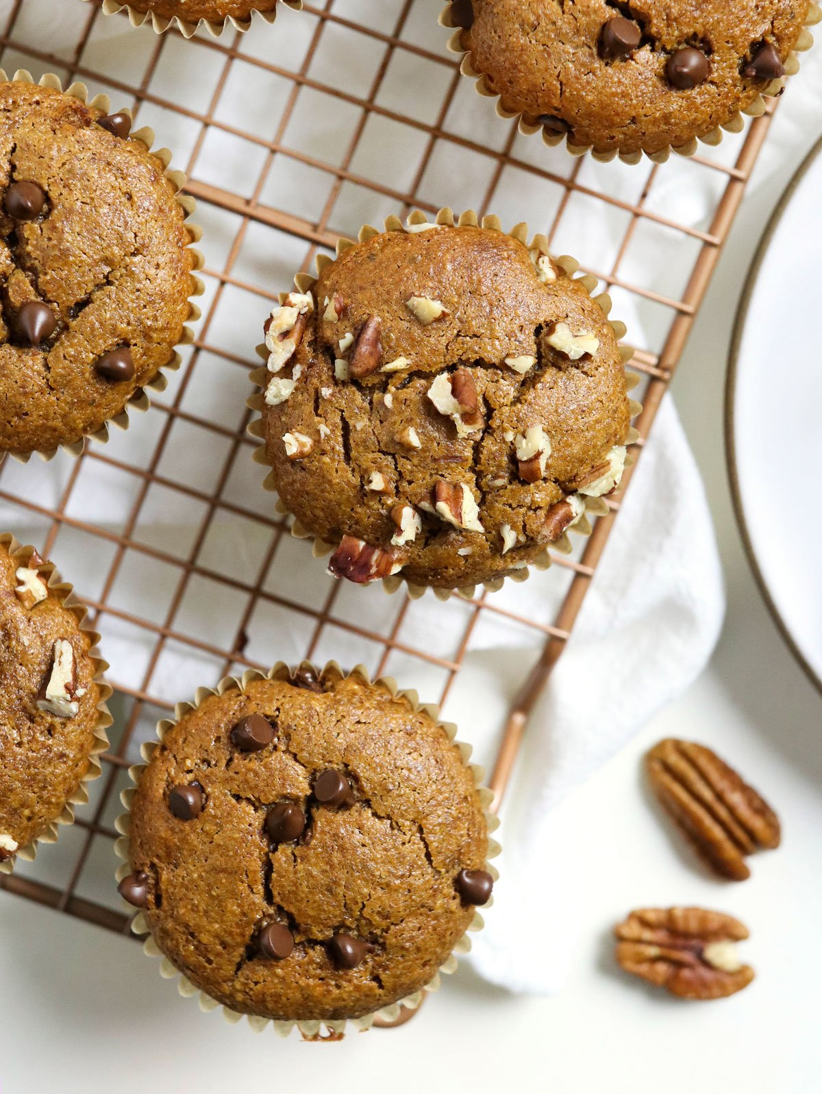 paleo pumpkin muffins on cooling rack