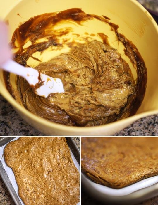 mixing butterfinger dough