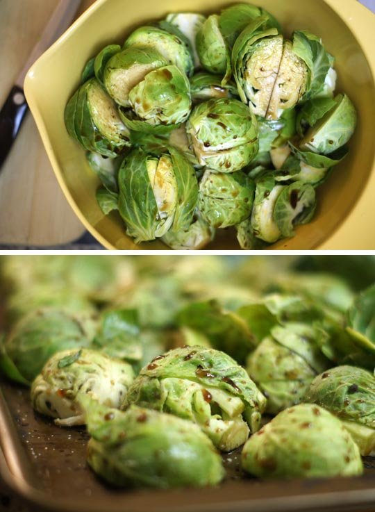 mixing brussels sprouts in balsamic dressing