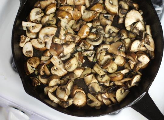 sauteed mushrooms on a skillet