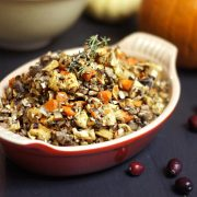 Grain Free Stuffing in red dish