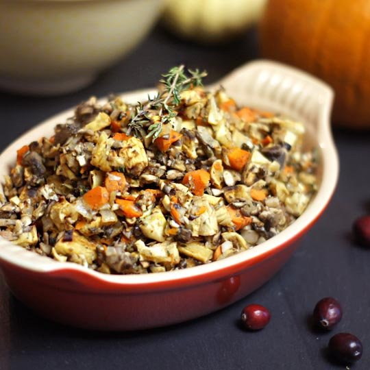 grain-free stuffing in a dish