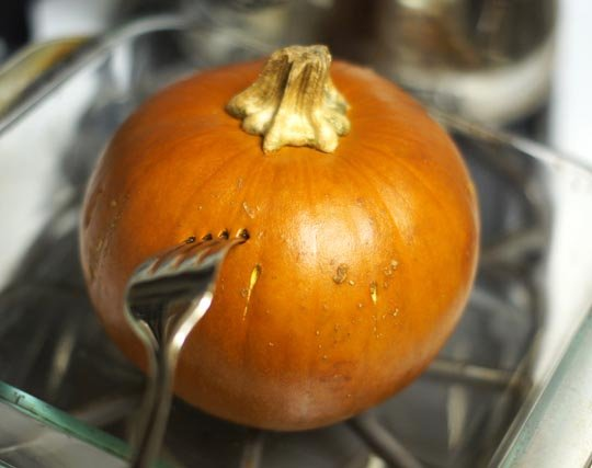 poking holes in a small pumpkin with a fork
