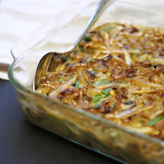 cooked green bean casserole