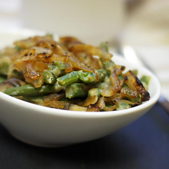 bowl of green bean casserole