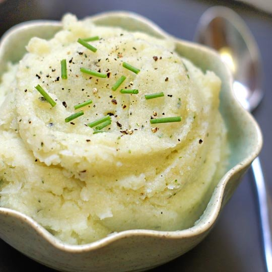 mashed cauliflower in a small bowl