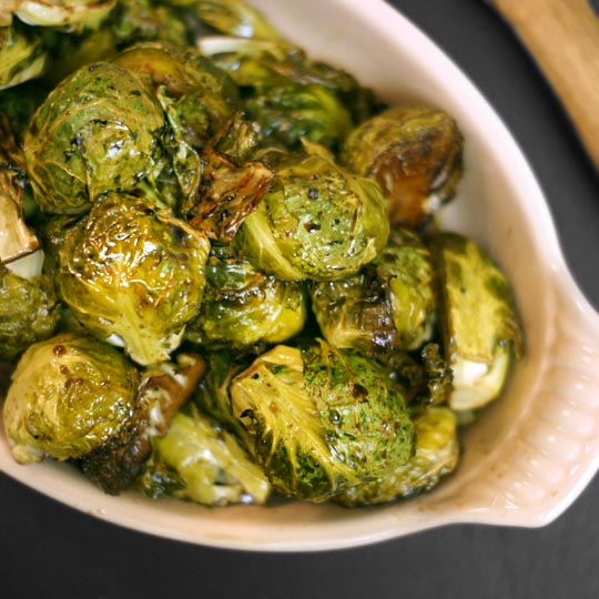 balsamic roasted brussels sprouts in a baking dish