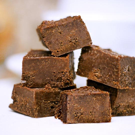 stack of easy raw fudge slices