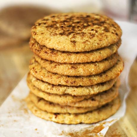 paleo snickerdoodle cookies stacked