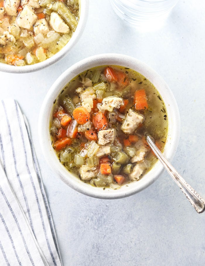 chicken vegetable soup in a white bowl  sc 1 st  Detoxinista & Classic Chicken u0026 Vegetable Soup | Detoxinista