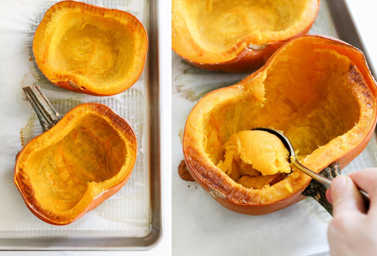 roasted pumpkin scooped out of shell