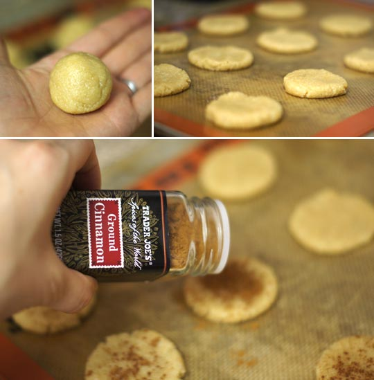 rolling out snickerdoodle cookie dough onto cookie sheet