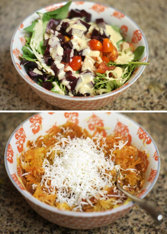 bowl of salad and spaghetti squash in a bowl with cheese on top