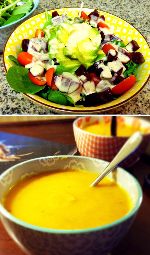 salad in a bowl and a bowl of butternut squash soup