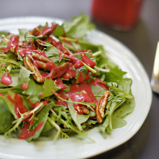 salad with lefotever cranberry dressing on top