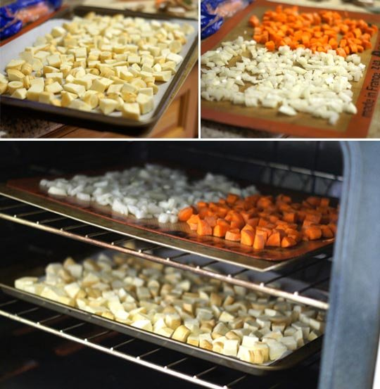 roasting pans of veggies in the oven