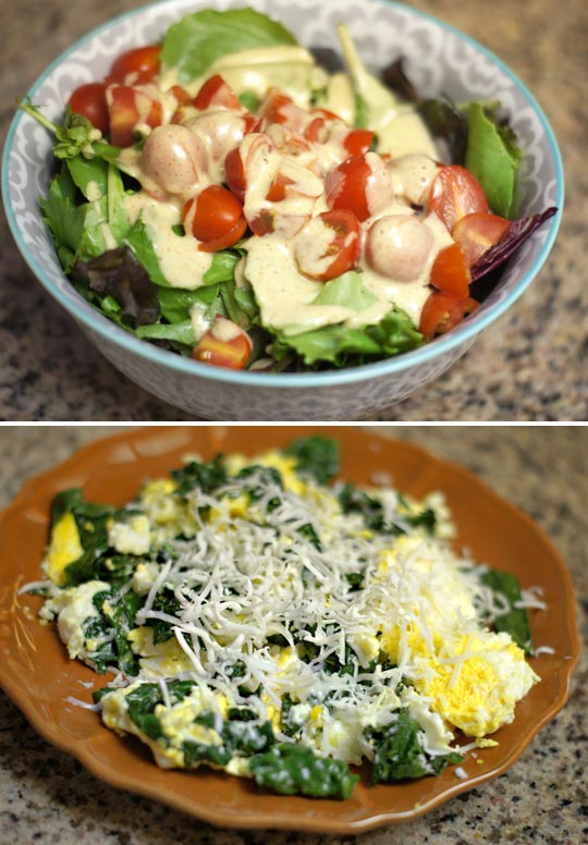 bowl of salad and a plate with scrambled eggs with spinach and cheese on top