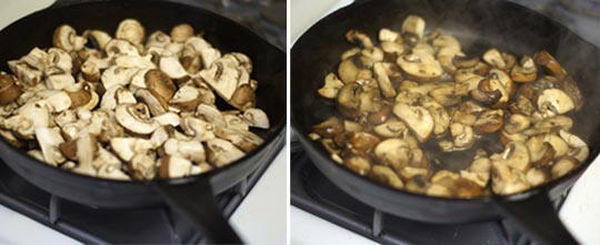 sauteed mushrooms in a skillet